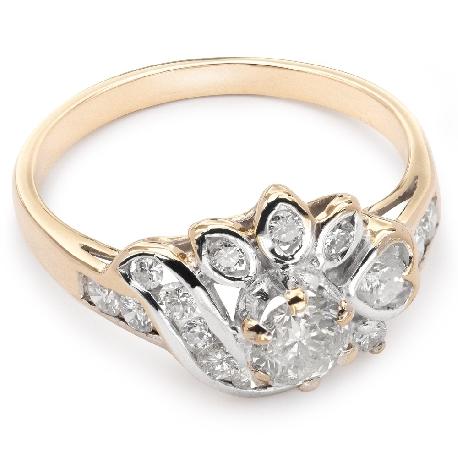 """Kultasormukset timanteilla """"Crown 9"""""""