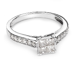 """Engagement ring with diamonds """"Princesses 33"""""""
