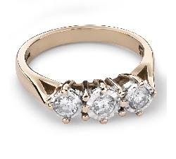 """Auksinis žiedas su Briliantais """"Trilogija 19"""""""