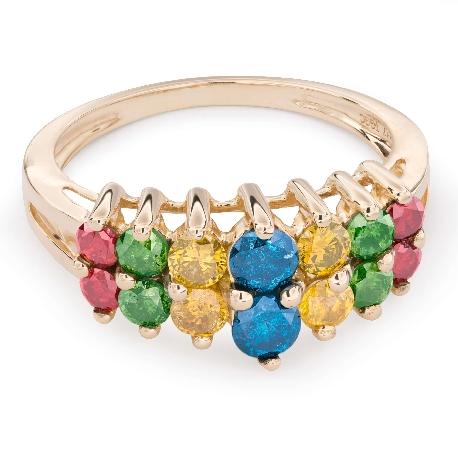 "Kultasormukset timanteilla ""Värit 41"""